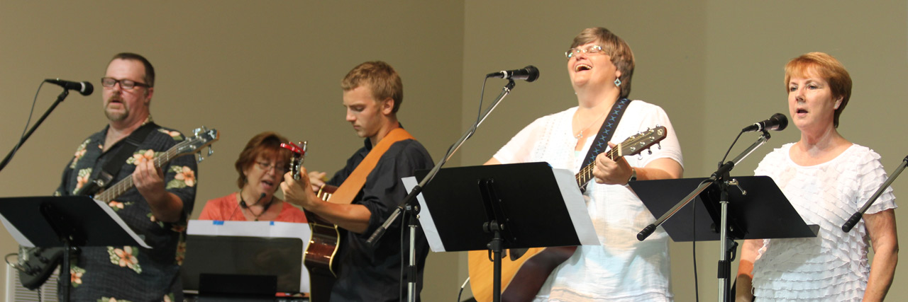 Ruth Kastberg (left) led a worship band of six during both evening worship services at Assembly 2012 in Chesapeake.