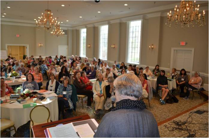Approx. 130 women gathered in the ballroom at Natural Bridge Hotel for our annual retreat.