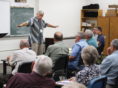 "(left) Lawrence Yoder led a workshop on ""Jesus' Healing Ministry and Ours,"" a focus on healing prayer and action using Jesus' example. Photo: Jon Trotter"