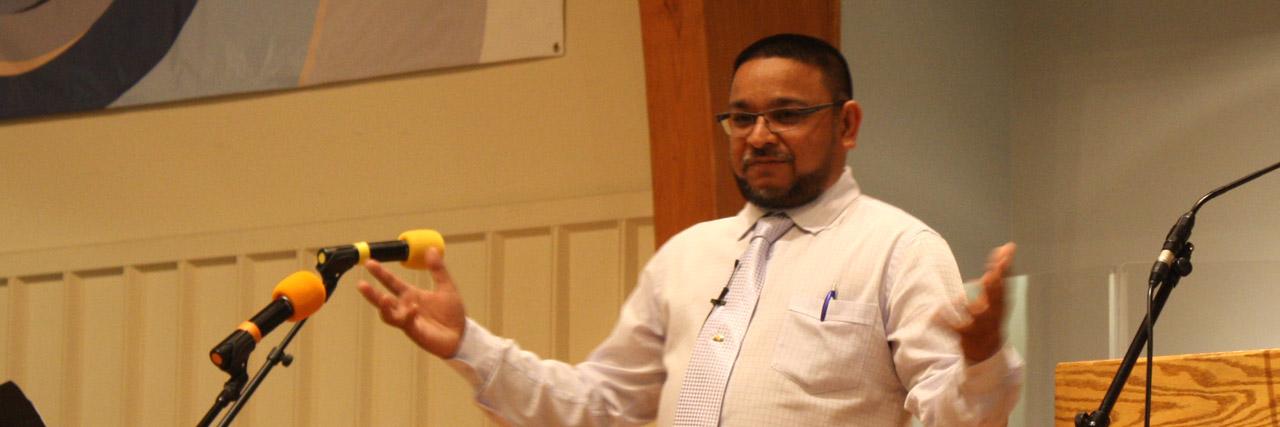 Navin Benny, pastor from Trinidad, brings the Thursday evening message. />, <img src=