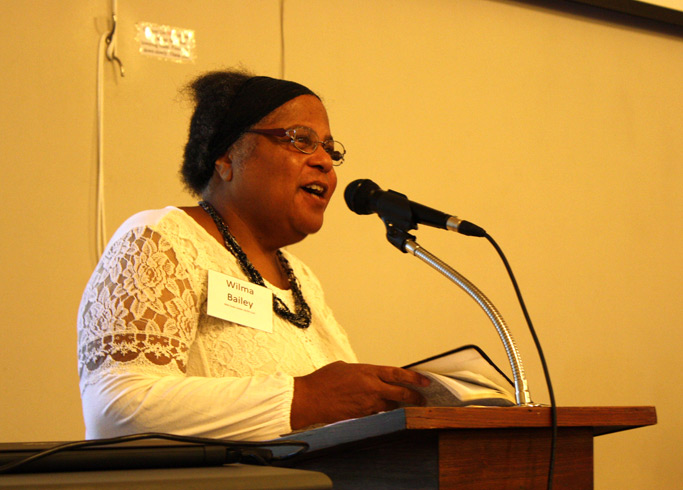 Wilma Bailey, Old Testament scholar, leads a Bible study at Assembly.
