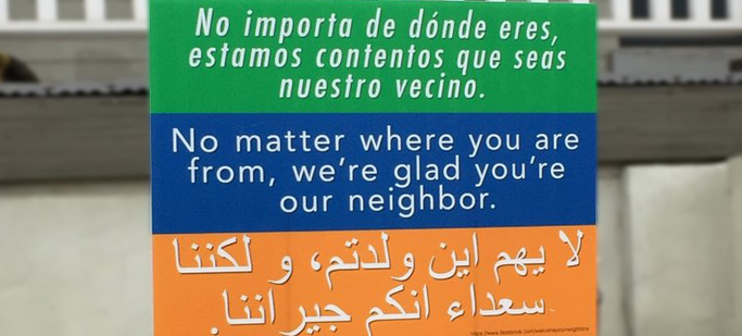"""We're Glad You're Our Neighbor"" sign"