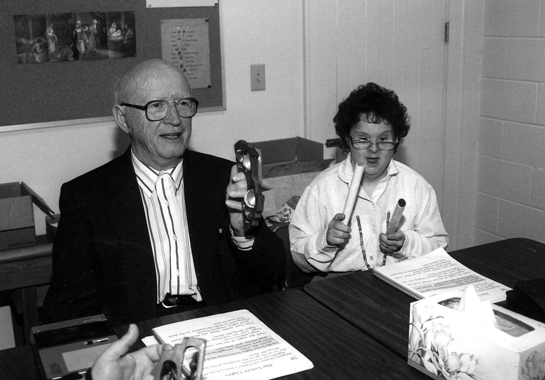 Paul Glanzer, with Layne Fawley, taught Sunday school at Zion Mennonite Church to disabled adults, 1985-2005. Wayne Showalter photo