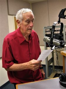 "John Horst records his program, ""Mostly Mennonite, Mostly Acapella,"" in the WEMC studio."
